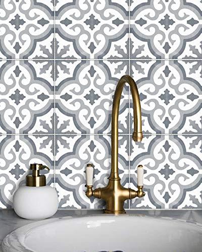Sticker Tile Stickers Kitchen Bath Floor Wall Waterproof & Removable Peel Stick Peel & Stick Vinyl Adhesive Tiles(Set 12 Units)
