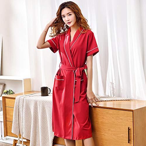 DFDLNL Amantes Vestido para Hombres y Mujeres Modal Algodón Bata Larga Albornoz Kimono para Hombre Albornoz Bata de Manga Corta para Hombre Batas XL LX-88744
