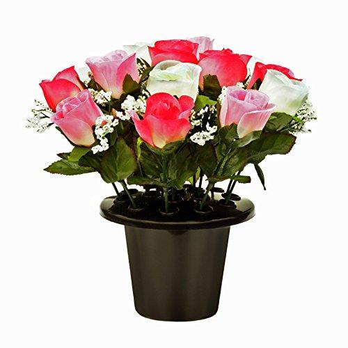 FloristryWarehouse Pot de Fleurs de sépulture avec Roses crème tsigane et Roses