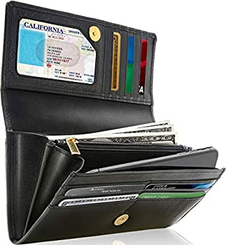 Leather Clutch RFID Wallets For Women - Big Womens Wallet Accordion Purse Organizer Zip Coin Pouch Gifts For Women