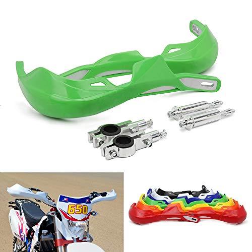 """Motorradhandschützer Aluminium-Handschützer Universal für 7/8 """"und 1 1/8"""" Bürstenstange für Off-Road-ATV Yamaha Kawasaki Suzuki Honda Motocross Dirt Bike Enduro - Grün"""