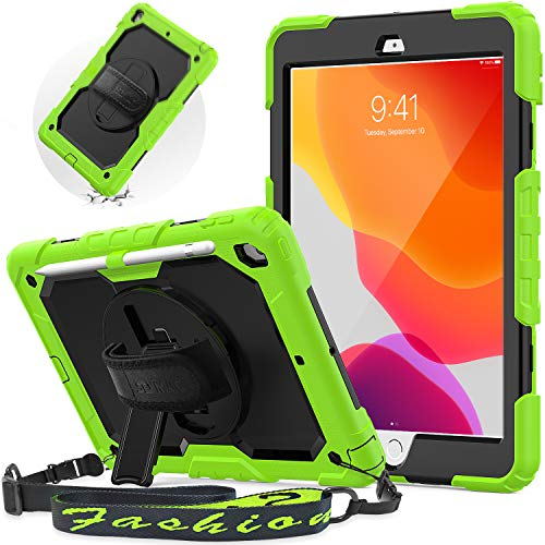 SEYMAC iPad 8th / 7th Generation Case, iPad 10.2 Case 2020 & 2019 with 360 Rotating Stand Hand Strap [Pencil Holder/Screen Protector] Adjustable Shoulder Strap for new iPad 7/8 case for Kids, Green