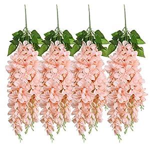 U'Artlines Wisteria Artificial 2.3 Feet/Piece Hanging Wisteria Vine Fake Flower Bush String Home Party Wedding Decoration