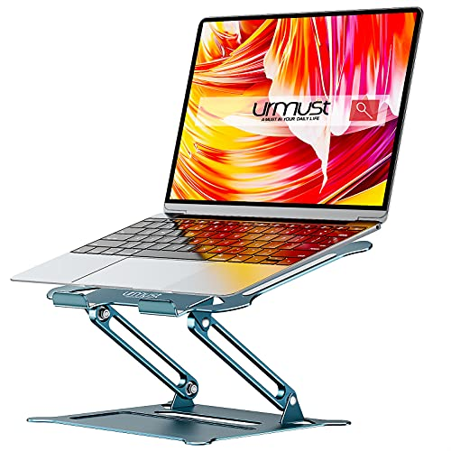 Urmust Laptop Notebook Stand Holder, Ergonomic Adjustable Ultrabook Stand Riser Portable Compatible with MacBook Air Pro, Dell, HP, Lenovo Light Weight Aluminum Up to 15.6'(Blue)