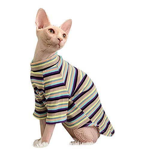ZHIHAN Sphinx Katze Kleidung Frühling und Herbst gestreiftes Bottoming Shirt Anti-Off T-Shirt, Farbe 1, M.