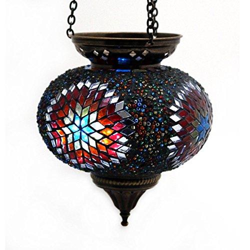 Mosaik Lampe Hängelampe Windlicht Pendelleuchte Aussenleuchte Deckenleuchte aus Glas Teelichthalter Orientalisch Handarbeit dekoration - Gall&Zick (Bunt L)