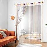 Fadenvorhang mit Verzierungen von Taiyuhomes - Vorhang, Trennwand, Dekoration, Fliegengitter, regenbogenfarben, 90x200cm(35x79')