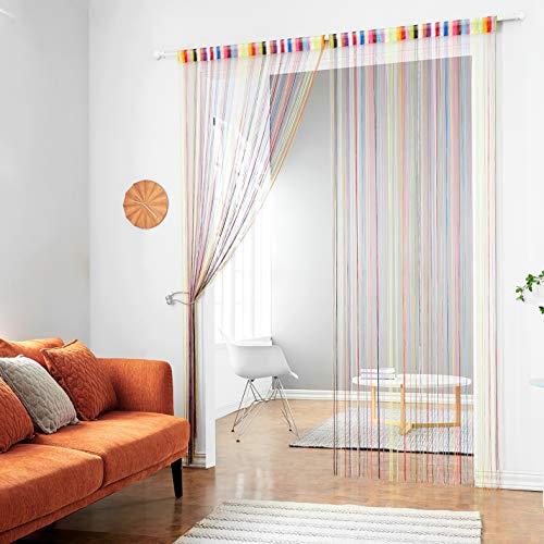 HSYLYM Knitting String Curtain Panels Dense Polyester Fringe Curtain Room Divider for Door Window Decor (100x200cm,Rainbow)