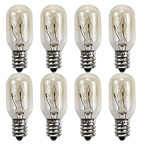 Lxcom Lighting Salt Lamp Bulb 15W Microwave Oven Light Bulbs 110V Stoven Bulbs E12 Base Appliance Lamp Warm White Kitchen Aid Oven Light Bulb, 8 Pack