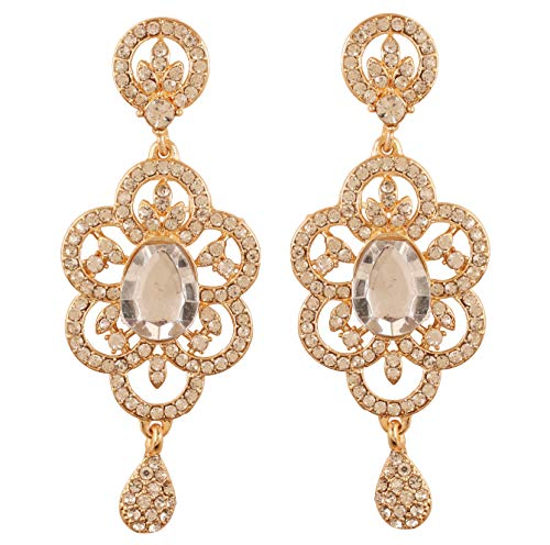 NEW! Touchstone Indian Bollywood Exotic Victorian Inspired Floral Work White Small Big Faceted Rhinestone Designer Jewelry Chandelier Earrings In Gold Tone For Women.