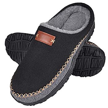 MIXIN Mens Moccasin Slippers - Memory Foam Slip on Clog Comfort Micro Fur Lining House Shoes Black 11