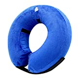 UKCOCO Pet Protective Inflatable Collar, Pet Recovery Wound Healing Protective Collar, Anti-bite Soft Collar for Dogs and Cats After Surgery - Size M (Blue)