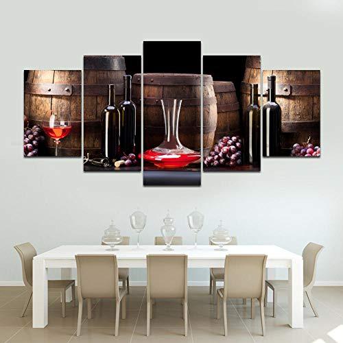 5 uds Lienzo copas de vino tinto carteles artísticos de pared imágenes para decoración del hogar pinturas decoraciones para sala de estar enmarcado