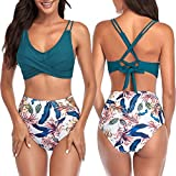 Conjuntos de Bikinis para Mujer, Trajes de Bao Push Up Bikini Conjunto Baador Mujer Ropa de Playa 2 Piezas Baador de Bao Tops y Cintura Alta Braguitas Bikini Sets para Playa Piscina Vacaciones