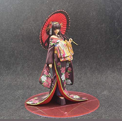 Rqcaxp Vinyl figuur verzamelstuk Saenai Sodatekata actiefiguur Kasumigaoka Utaha Kimono Ver Xia Shiyu heugel model paraplu dame decoratie ca. 18 cm, kinderen volwassenen en Anime-fans.