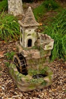 Alpine Corporation Fairy Castle Waterwheel Tiered Fountain - Outdoor Garden, Patio, Deck, Porch Decor - Yard Art Decoration
