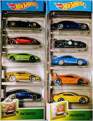 Hot Wheels 2019 and 2020 HW Exotics 5 Packs 10 Car Bundle Set