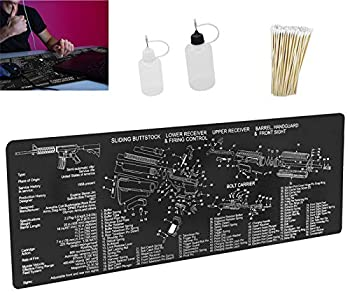 Gun Cleaning Mat Pad Large  36 by 12 Inches - Two Empty Oil Bottles.for Handgun Rifle Cleaning-Non Slip and Solvent Resistant- with Ar15 Parts Diagram