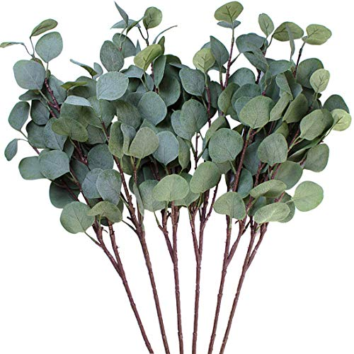 3 hojas de eucalipto Amkun de plata artificial en rama, de color verde, 63,5 cm de alto, para decoración de fiestas, casas, bodas