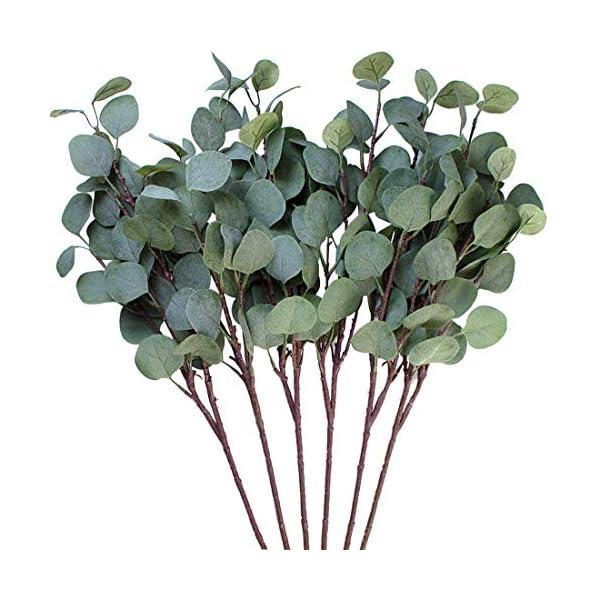 3 hojas de eucalipto Amkun de plata artificial en rama, de color verde, 63,5 cm de alto, para decoración de fiestas…