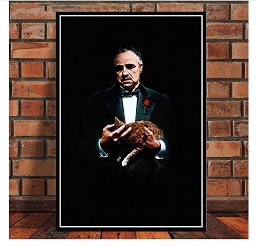 DIANFANBAO Plakate und Drucke Der Pate Film Marlon Brando Al Pacino Poster Wandkunst Bild Leinwand Malerei Für Raum Obrazy Plakat 40X60Cm Ohne Rahmen