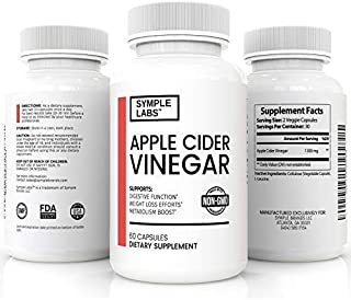 SYMPLE LABS Apple Cider Vinegar Pills for Detox, Digestive Support, Weight Loss, and Metabolism Boost, Double Strength with 1300 mg, Non-GMO, 60 Count