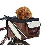 Pet Bicicleta Transportadora Saco Filhote De Cachorro Cachorro Gato Pequeno Animal De Viagem Assento Da Bicicleta para Caminhadas Ciclismo Cesta Acessórios-marrón