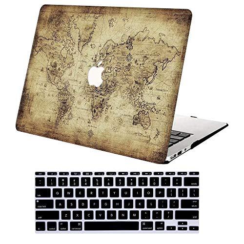 AJYX Funda para 2020 2019 2018 MacBook Air 13 Pulgadas A2179   A1932, Cubierta de Plástico Dura Case con Cubierta de Teclado para Nuevo MacBook Air 13 Retina con Touch ID - Mapa del Mundo
