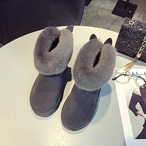 Shukun enkellaarsjes, sneeuwschoenen, vrouwen, korte pijp, winterlaarzen, modieus, katoen, schoenen, plus katoen, dikke warme schoenen