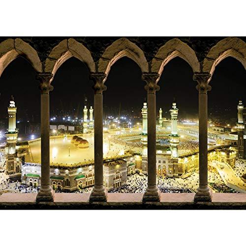 Vlies Fototapete PREMIUM PLUS Wand Foto Tapete Wand Bild Vliestapete - Moschee Mekka Lightning Bögen - no. 1662, Größe:416x254cm Vlies