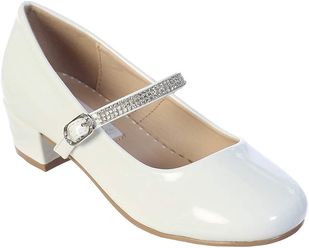 iGirlDress Little Girls Big Girls Patent Heel with Rhinestone Strap Flower Girls Mary Jane Shoes (Size 9-5 Youth)