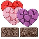 FineGood 5 pezzi stampi in silicone a forma di cuore, stampini per cioccolato stampini per stampini in silicone con numero di alfabeto per gelatina di muffin per torte