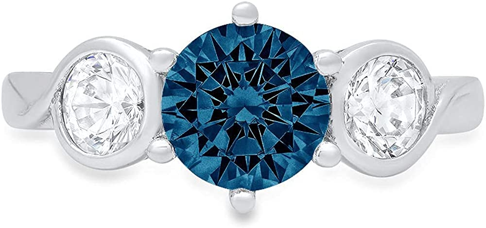 1.85 ct Brilliant Round Cut 3 stone Solitaire Natural London Blue Gem Stone Ideal VVS1 Engagement Promise Statement Anniversary Bridal Wedding with accent Ring 14k White Gold
