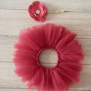 AM ANNA Tutu Skirt Photography Prop Costume with Flower Headband Set for Baby of 100 Days (Red Wine)