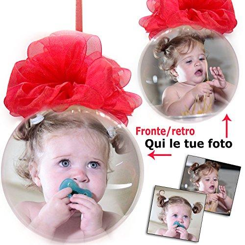 PieffeLine Palla di Natale Decorazione addobbo Personalizzata con Foto Stampata all'Interno Diametro Palline (9cm)