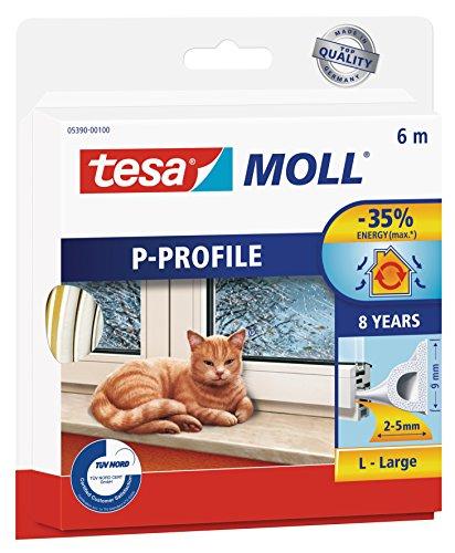 tesamoll P-Profil Gummidichtung - Selbstklebende Dichtung zum Isolieren von Spalten an Fenstern und Türen - Weiß - 6 m x 9 mm x 5,5 mm