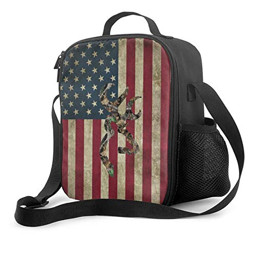 Browning Deer Camo American Flag Insulated Lunch Box Bag Portable Lunch Tote For Women Men And Kids