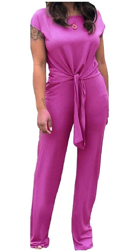 を除く散文初心者sayahe 週末のトラックセットを編んでいる女性固体半袖2 -片ストラップ