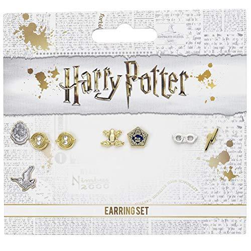 The Carat Shop Offizielles Harry Potter Ohrstecker-Set mit Zeitumkehrer, Schokoladenfrösche und Brille mit Blitzbolzen