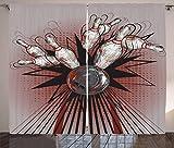 ABAKUHAUS Fiesta de los Bolos Cortinas, Bola Crash prendedores, Sala de Estar Dormitorio Cortinas Ventana Set de Dos Paños, 280 x 260 cm, Malva Gris Rojo