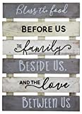 Vintage Rustic Farmhouse Wall Home Decor Sign for Kitchen, Living Room, Dining Room, Bedroom or Bathroom – Bless The Food Before Us Wood Pallet Skid Barnwood Color Decorative Wall Plaque…