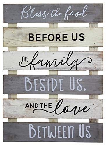 Vintage Rustic Farmhouse Wall Home Decor Sign For Kitchen, Living Room, Dining Room, Bedroom or Bathroom – Bless The Food Before Us Wood Pallet Skid Barnwood Color Decorative Wall Plaque