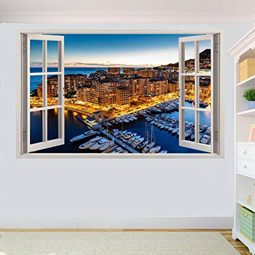 HUJL Wandtattoo Monaco Pier 3D Window Sticker Wall Room Decoration Decal Mural