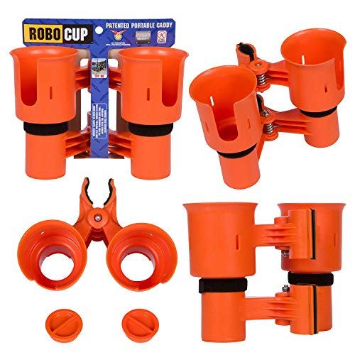 Robo Cup portavasos Doble, Pinza de Clip en múltiples usos: Bebidas, caña de Pescar, Herramientas, Palo de Tambor, Playa, Naranja