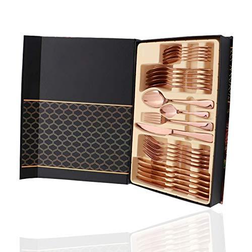 Cubertería de acero inoxidable incluye tenedores y cucharas, 24 piezas, oro rosa