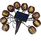 Not application Solar Garden Lights, 10 LED Waterproof Outdoor String Dancing Flickering Flame Lights Solar Powered Decorative Lights for Garden,Patio,Yard,Home,Chrismas Tree,Parties