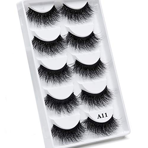3D Mink Lashes Fluffy Wispy Natural False Eyelashes Messy Volume Long Thick Fake Eyelashes Handmade Reusable Dramatic Eye Lashes Pack Makeup Lashes Set 5 Pairs(A11)