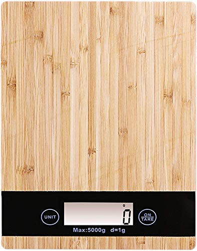 PRITECH - Bilancia da Cucina Digitale Resistente al bambù, Peso Massimo 5Kg e Alta precisione, spegnimento Automatico e Funzione Tara