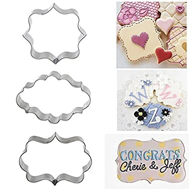 Windspeed Stainless Steel Plaque Frame Pastry Biscuit Cookie Cutter Cake Fondant Pancake Cutters Mold Pack of 3
