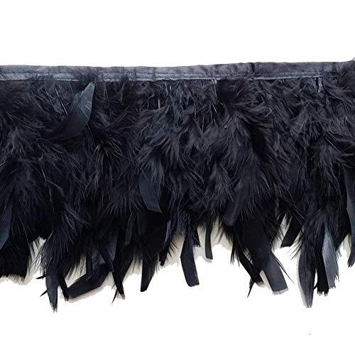 KOLIGHT Pack de 2 yardas de plumas de pavo teñidas naturales de 4~6 pulgadas flecos recortar DIY vestido manualidades disfraces decoración negro